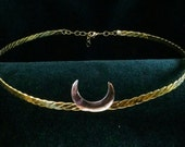 Silver Crescent Moon on B...