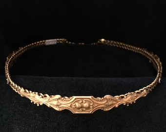 Baroque Brass Circlet Headpiece with Braided Band