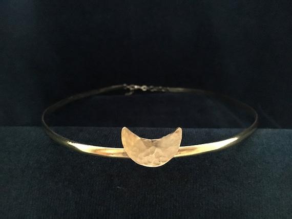 Hammered Brass Moon on Half Round Band Circlet Headpiece