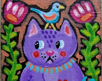Original Small Folk Art Whimsical Kitty Cat Magnet