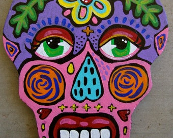 Original Whimsical Painted Folk Art Sugar Skull