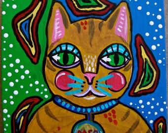 Small Cat Folk Art Painting