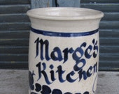 vintage hand thrown crock Marges Kitchen salt glaze stoneware gift for marge country rustic farmhouse
