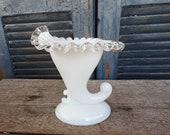 Fenton silver crest horn vase Fenton art glass candleholder