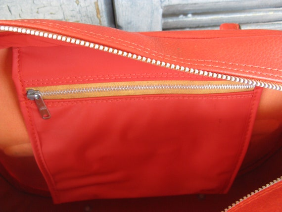 vintage burnt orange overnight bag carry on bag l… - image 3
