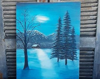 original landscape painting oil on canvas winter scene