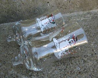 vintage clear glass snowmen votives peg votives painted votives
