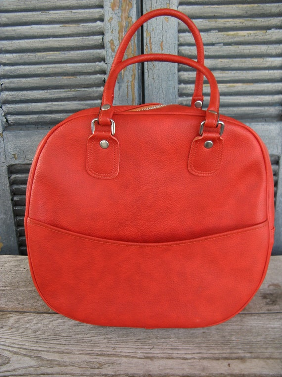 vintage burnt orange overnight bag carry on bag l… - image 2