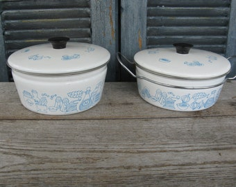 vintage mid century enamel pots set of 2 blue and white cookware