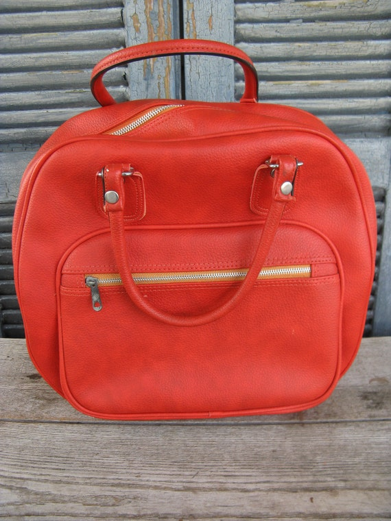 vintage burnt orange overnight bag carry on bag l… - image 1