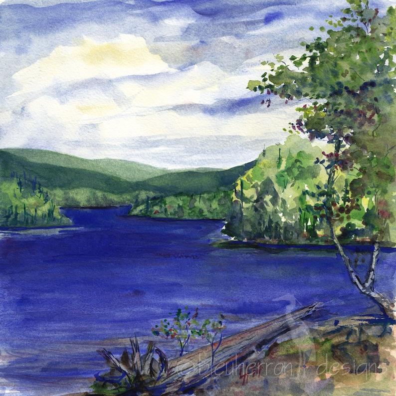 Blue Lake Parc R\u00e9gional Kiamika art print watercolor landscape