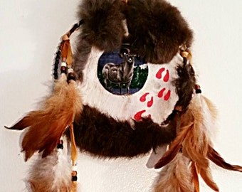 Bighorn Sheep Mandela w/Rabbit Fur and Brown Leather Trim and Hand Painted Deer Tracks and Hackle Feathers