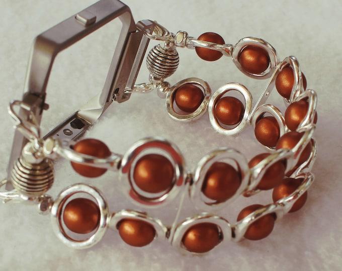FITBIT Blaze, Watch Band for Fitbit Blaze, Silver Ovals and Copper Beads Watch Band for Fitbit, Silver Watch Band for Fitbit Blaze