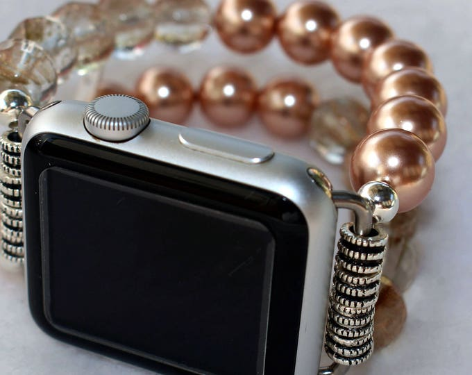 Apple Watch Band, Watch Band for Apple Watch, Rose Pearls Apple Watch Band Bracelet, Apple Watch 38mm, Apple Watch 42mm Beaded Band