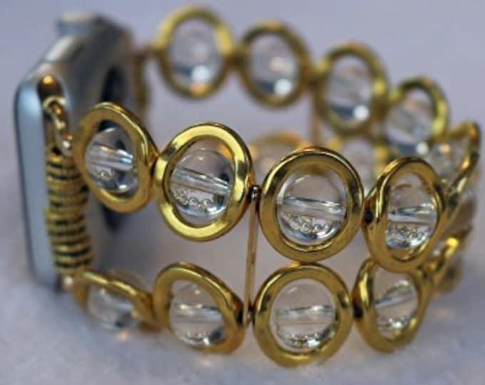 Apple Watch Band, Watch Band for Apple Watch, Gold Ovals and Clear Beads Band for Apple Watch