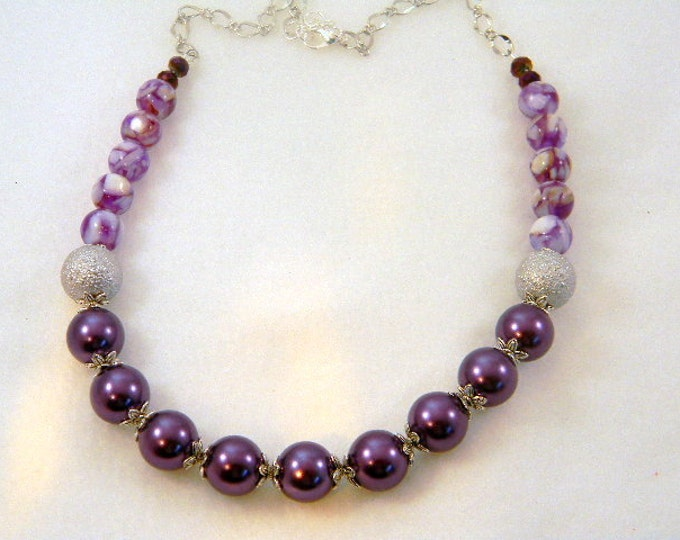 Purple Pearl Necklace, Pearl Necklace, Mother of Pearl Necklace, Amethyst Necklace