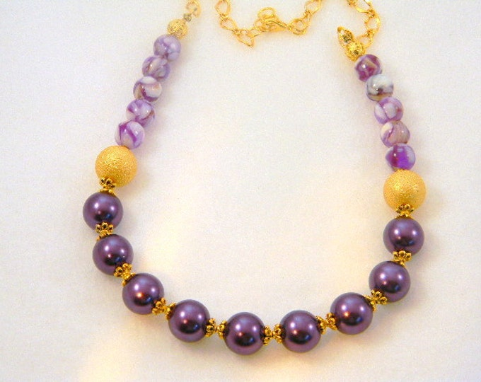 Purple Pearl Necklace, Pearl Necklace, Mother of Pearl Necklace