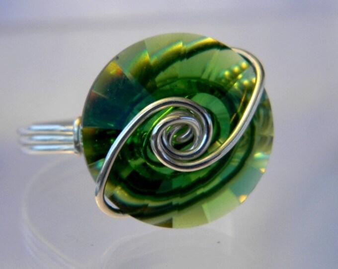 Sterling Silver Swarovski Moss Green Round Ring