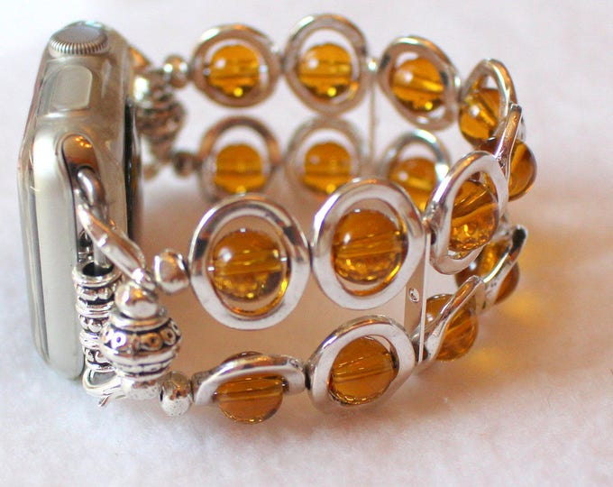 Apple Watch Band, Watch Band for Apple Watch, Silver Ovals and Amber Beads Band for Apple Watch