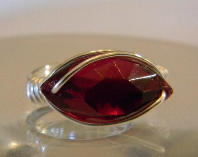 Swarovski Ruby Crystal Navette Ring