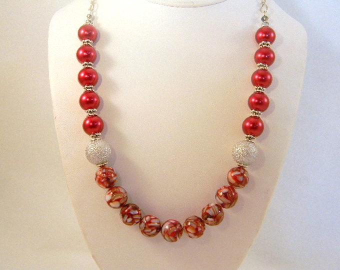 Red Pearl Necklace, Pearl Necklace, Mother of Pearl Necklace, Burgandy Necklace