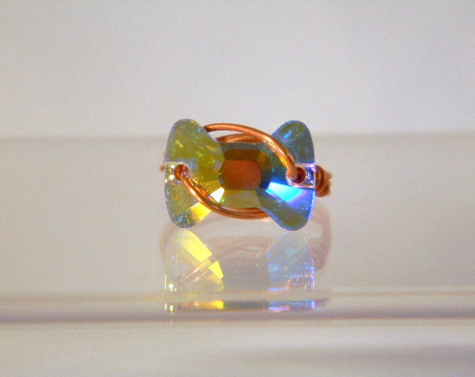 Swarovski Bow Tie Crystal Copper Ring, Copper RIng, Swarovski Crystal Ring, Crystal Ring