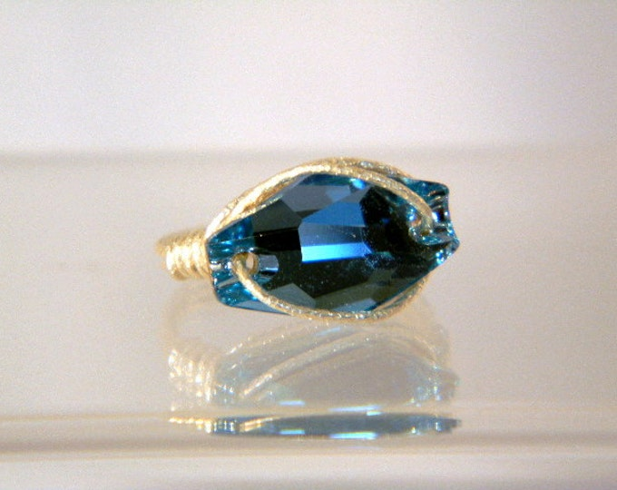 Sterling Silver Swarovski Aquamarine Crystal Ring