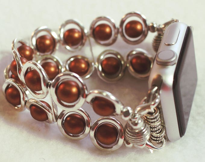 Apple Watch Band, Watch Band for Apple Watch, Silver Ovals and Copper Glass Beads Band for Apple Watch