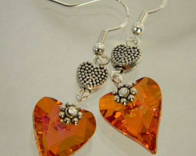 Dangle Heart Earrings Pink Astral Swarovski Wild Heart Crystal Earrings