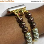 On Sale Ends Monday PM Apple Watch Band, Watch Band for Apple Watch, Fall Color Pearl Apple Watch Band Bracelet, Brown Green Gold Yellow Pea