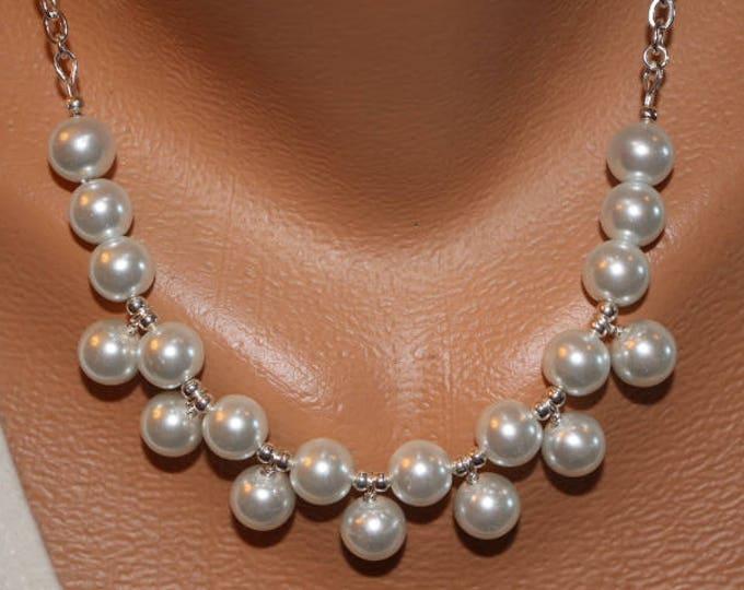 Necklace White Pearl Bib Necklace, Choker Bib Necklace White
