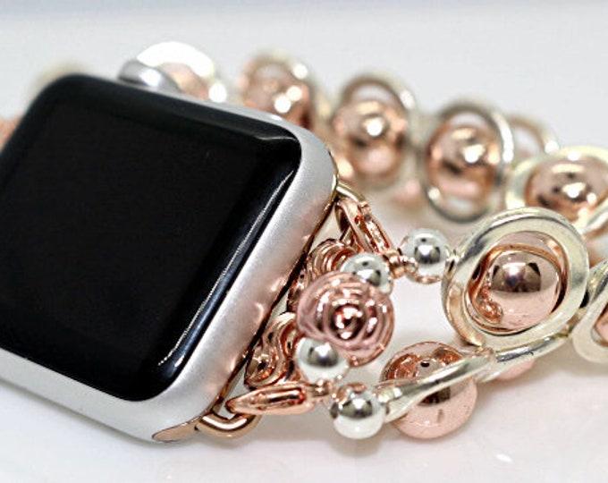 Apple Watch Band, Watch Band for Apple Watch, Silver Ovals and Rose Gold Band for Apple Watch