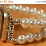 ON SALE Apple Watch Band, Watch Band for Apple Watch, White Pearl Apple Watch Band Bracelet