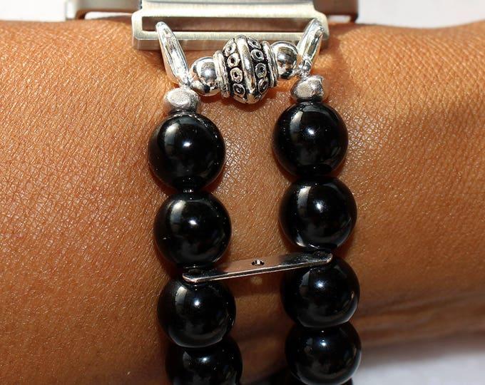 FITBIT Blaze, Watch Band for Fitbit Blaze, Black Beads Watch Band for Fitbit, Black Watch Band for Fitbit Blaze