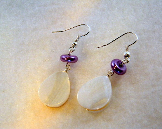 Shell Tear Drop Earrings with Purple Pearl, Purple and White Earrings, Shell Earring