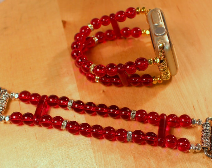 Apple Watch Band, Watch Band for Apple Watch, Garnet Red Beads Apple Watch Bracelet, Watch Band, Watch Bracelet