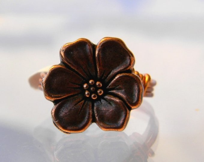 Copper Flower Ring, Copper Ring, Flower Ring,