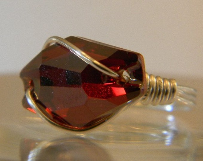 Swarovski Ruby Crystal Hexagon Ring