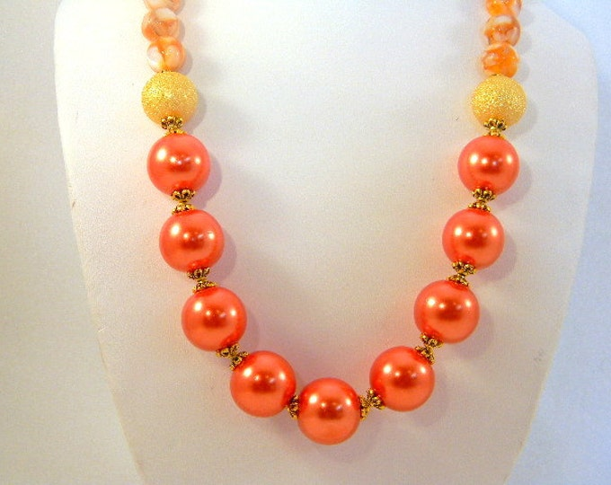 Orange Pearl Necklace, Pearl Necklace, Mother of Pearl Necklace