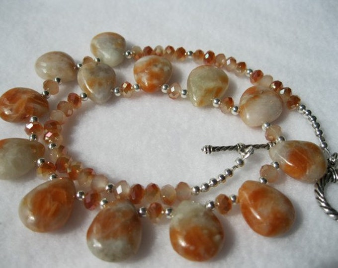 Orange Fire Calcite Tear Drops Necklace