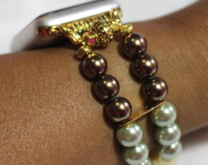 Apple Watch Band, Watch Band for Apple Watch, Fall Color Pearl Apple Watch Band Bracelet, Brown Green Gold Yellow Pearl Apple Watch Band