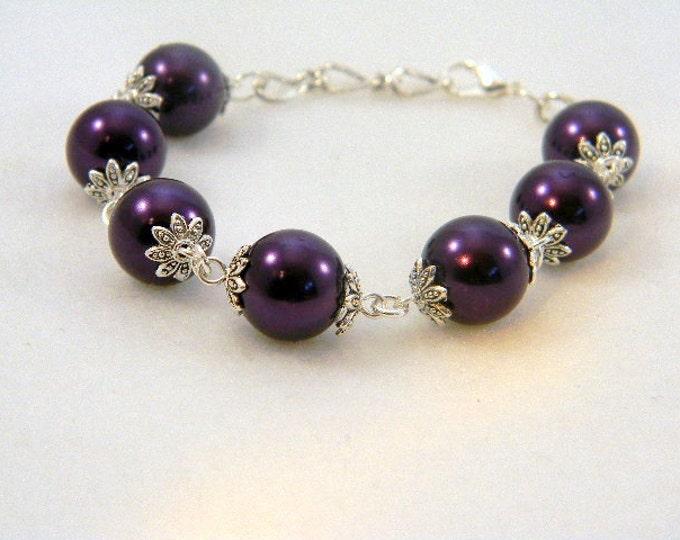 Bracelet, Purple Pearls, Purple Bracelet, Purple Pearl Bracelet, Beaded Bracelet