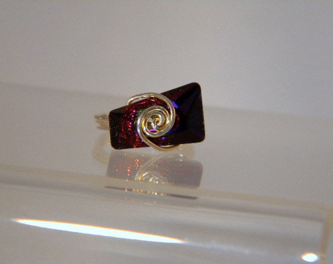Sterling Silver Swarovski Volcano Trapezee Ring, Purple Silver Ring