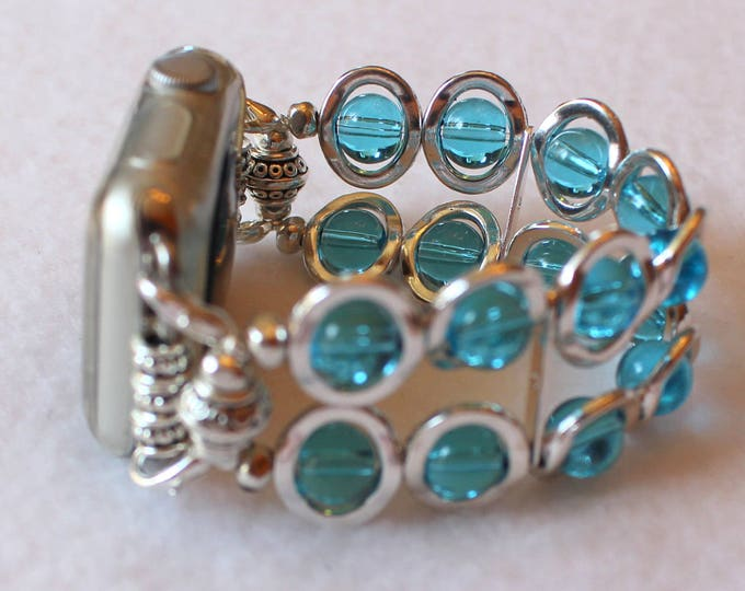 Apple Watch Band Silver Ovals and Aqua Beads, Band for Apple Watch 38mm, Watch Band for Apple Watch 42mm, Apple IWatch band, Apple Watch