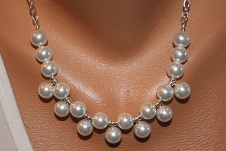 Necklace White Pearl Bib Necklace Choker Bib Necklace White image 0