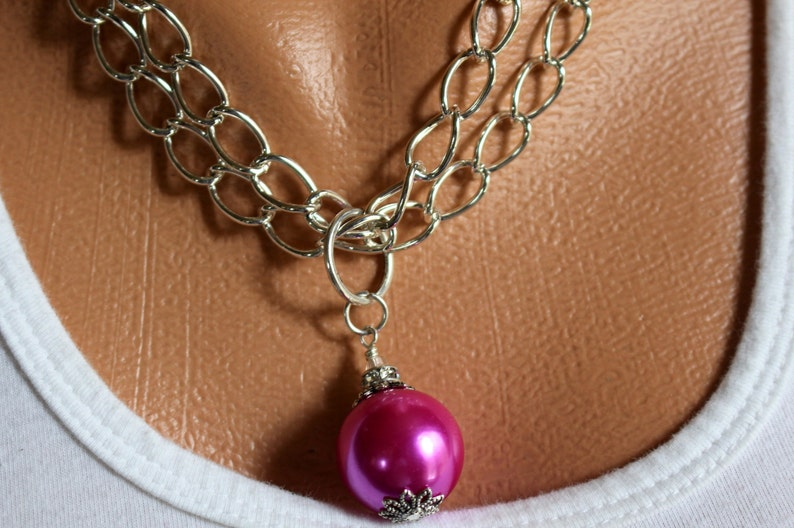 HOT PINK Necklace Pink Necklace Pink Pendant Necklace Pink image 0