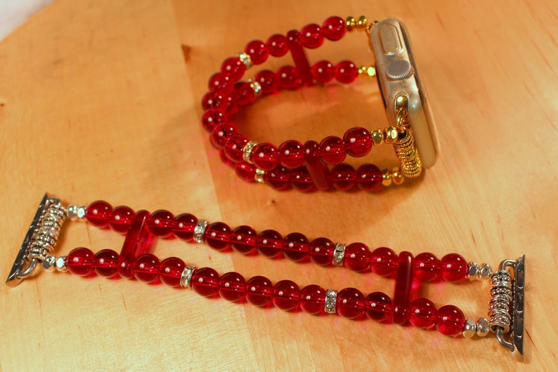 Apple Watch Band Watch Band for Apple Watch Garnet Red Beads image 0