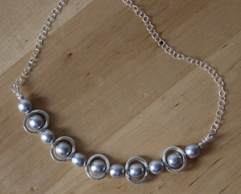 Necklace Silver and Silver Beads Bib Necklace Choker Bib image 0