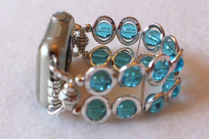 Apple Watch Band Silver Ovals and Aqua Beads Band for Apple image 0