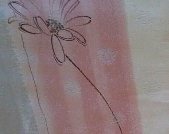 Beautiful Decorator Fabric Cream, Pink, Blue with Etched Flowers 4 1/2 Yards X0814